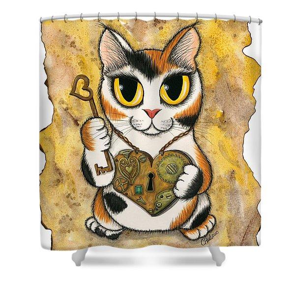 Steampunk Valentine Cat Shower Curtain