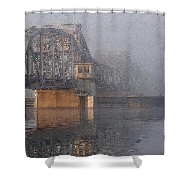 Steel Bridge In Fog Shower Curtain