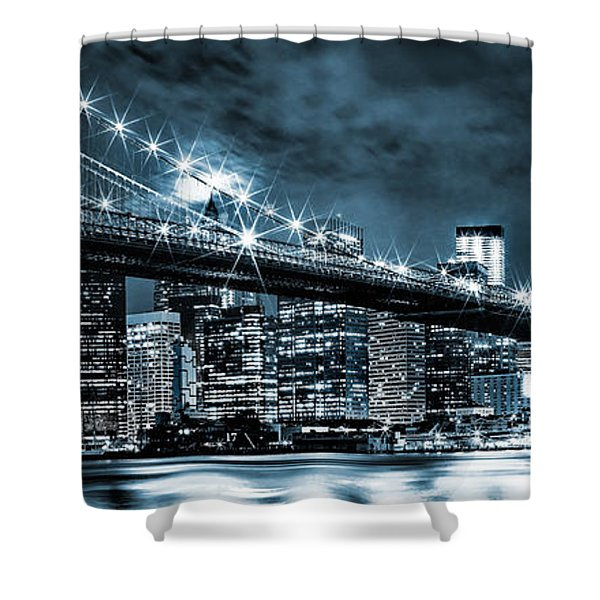 Steely Skyline Shower Curtain