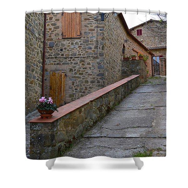 Steep Street In Montalcino Italy Shower Curtain