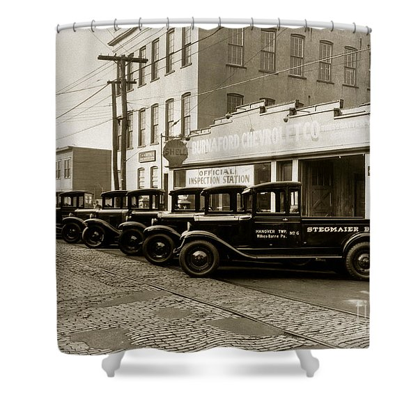 Stegmaier Brothers Inc Beer Trucks At 693 Hazle Ave Wilkes Barre Pa 1930s Shower Curtain