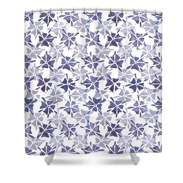 Stencilled Floral Shower Curtain