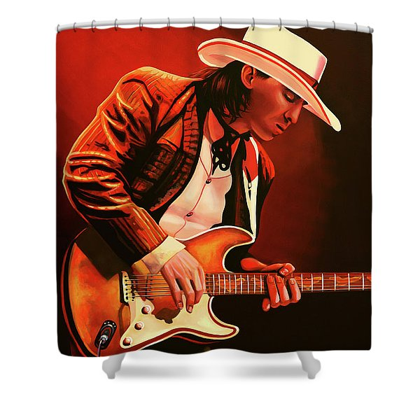 Stevie Ray Vaughan Painting Shower Curtain