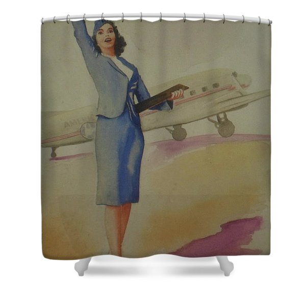 Stewardess And Dc3 Shower Curtain