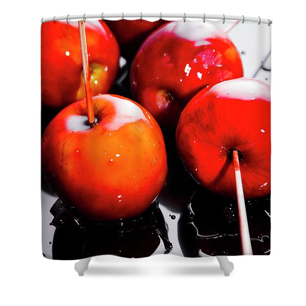 Sticky Red Toffee Apple Childhood Treat Shower Curtain