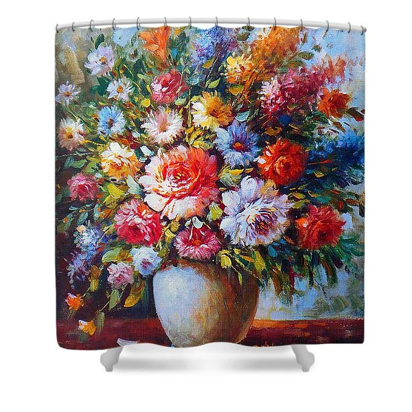 Still Life Colourful Flowers In Bloom Shower Curtain