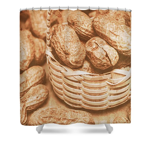 Still Life Peanuts In Small Wicker Basket On Table Shower Curtain