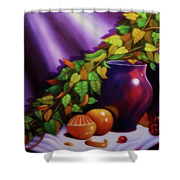 Still Life W/purple Vase Shower Curtain