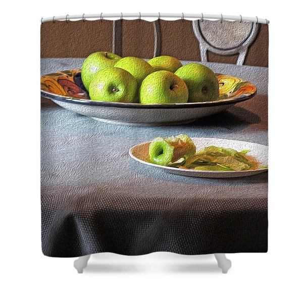 Still Life With Apples And Chair Shower Curtain