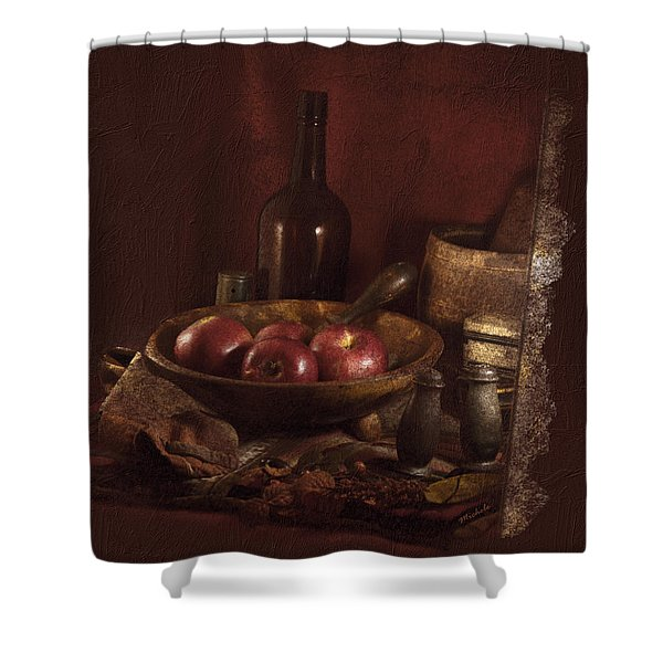 Still Life With Apples, Bottles, Baskets And Shakers. Shower Curtain