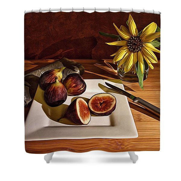 Still Life With Flower And Figs Shower Curtain