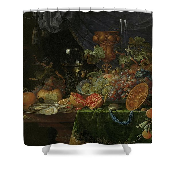 Still Life With Fruit And Oysters   Shower Curtain