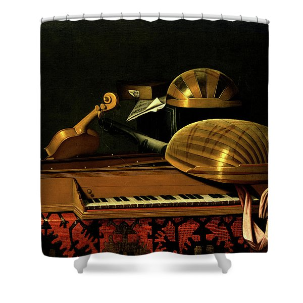 Still Life With Musical Instruments And Books Shower Curtain