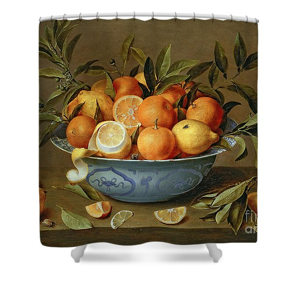 Still Life With Oranges And Lemons In A Wan-li Porcelain Dish  Shower Curtain