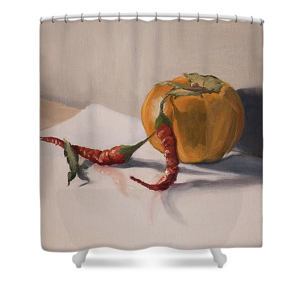 Shower Curtain featuring the painting Still Life With Produce by Break The Silhouette