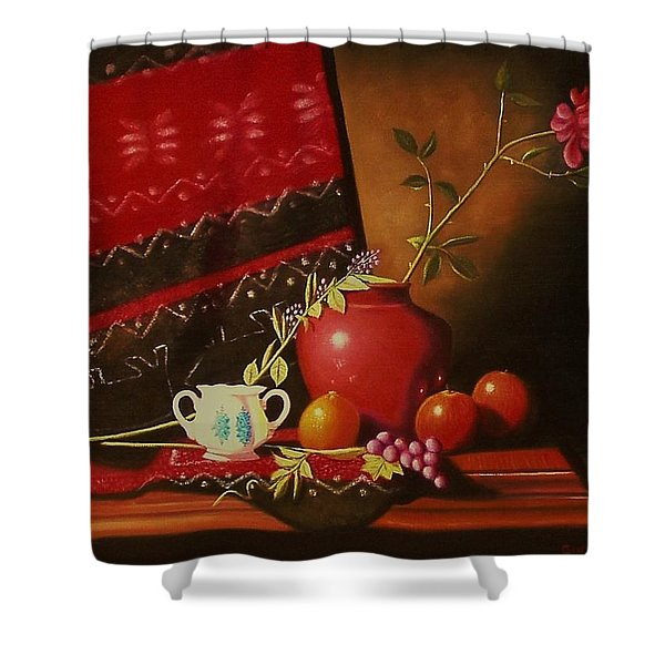 Still Life With Red Vase. Shower Curtain