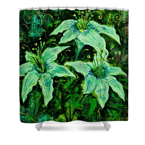 Still Life With White Lilies In Green Shower Curtain