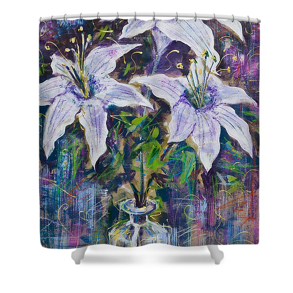 Still Life With White Lilies Shower Curtain