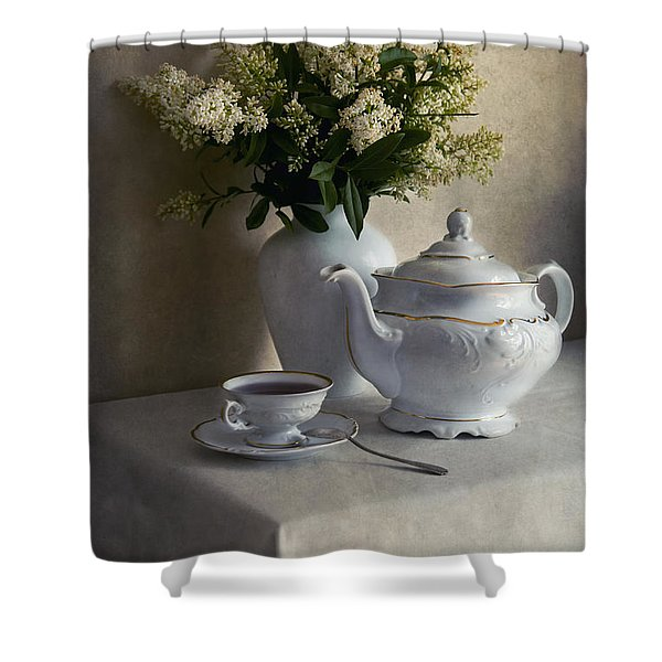Shower Curtain featuring the photograph Still Life With White Tea Set And Bouquet Of White Flowers by Jaroslaw Blaminsky