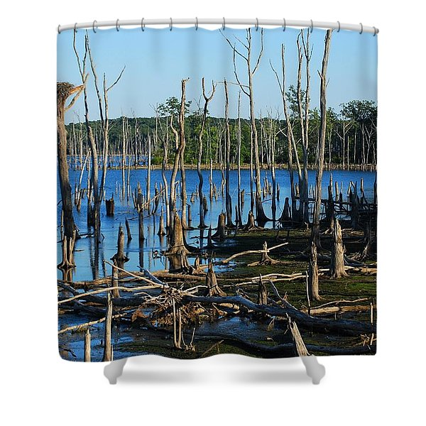 Still Wood - Manasquan Reservoir Shower Curtain