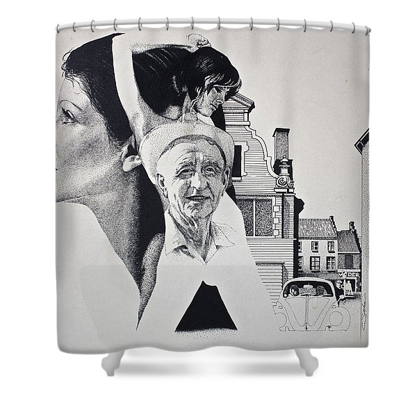 Shower Curtain featuring the painting Stipple 2 --over The Hill by Cliff Spohn