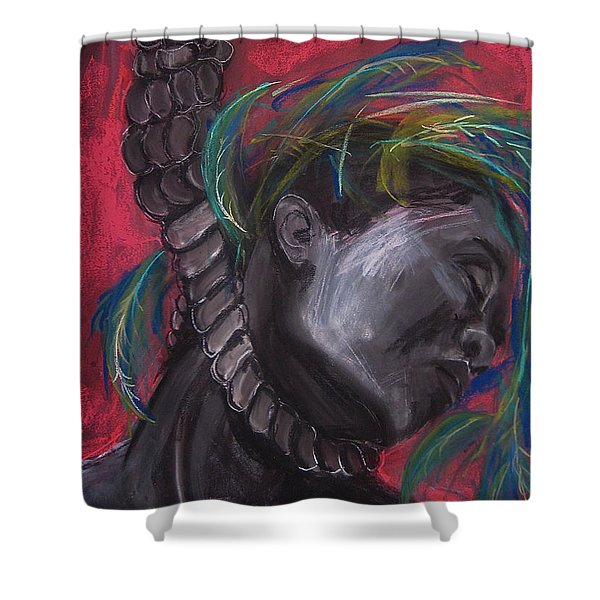 Shower Curtain featuring the drawing Stolen Resource by Gabrielle Wilson-Sealy