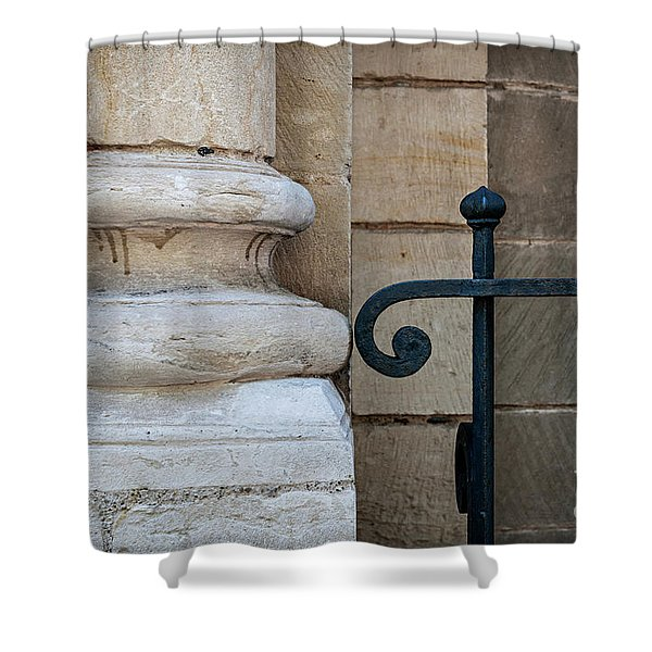 Stone And Metal Shower Curtain