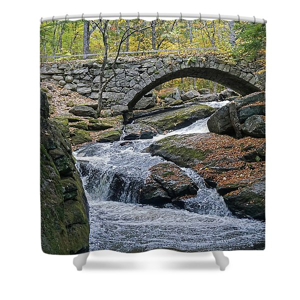 Stone Arch Bridge In Autumn Shower Curtain