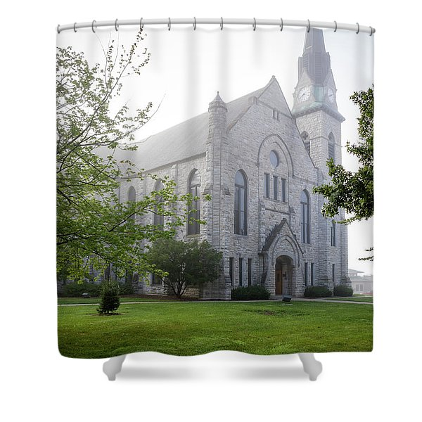 Stone Chapel In Fog Shower Curtain