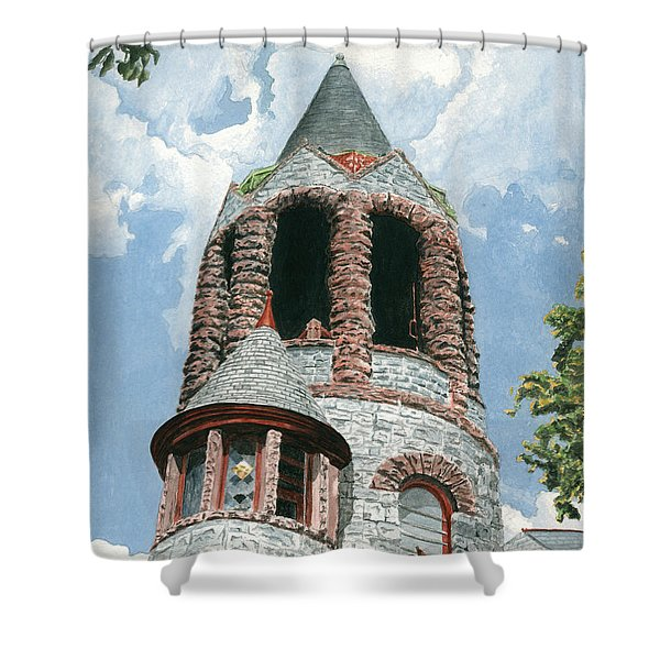Shower Curtain featuring the painting Stone Church Bell Tower by Dominic White