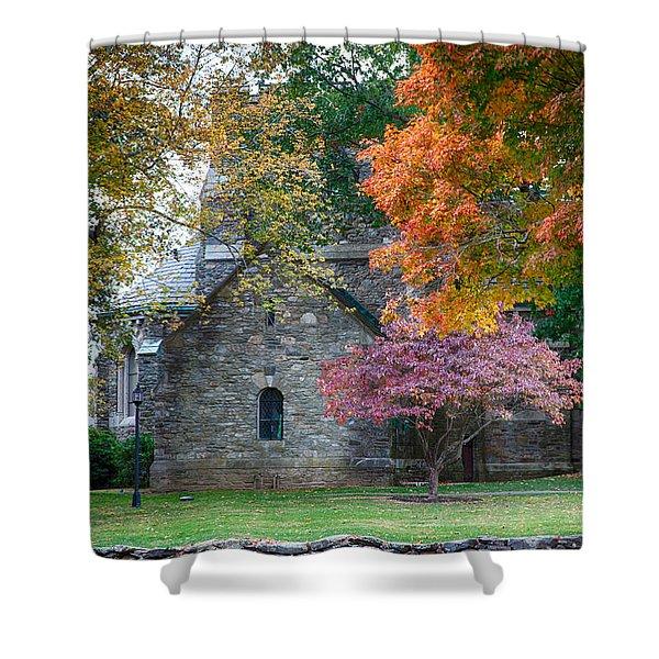 Stone Church In Pomfret Ct In Autumn Shower Curtain