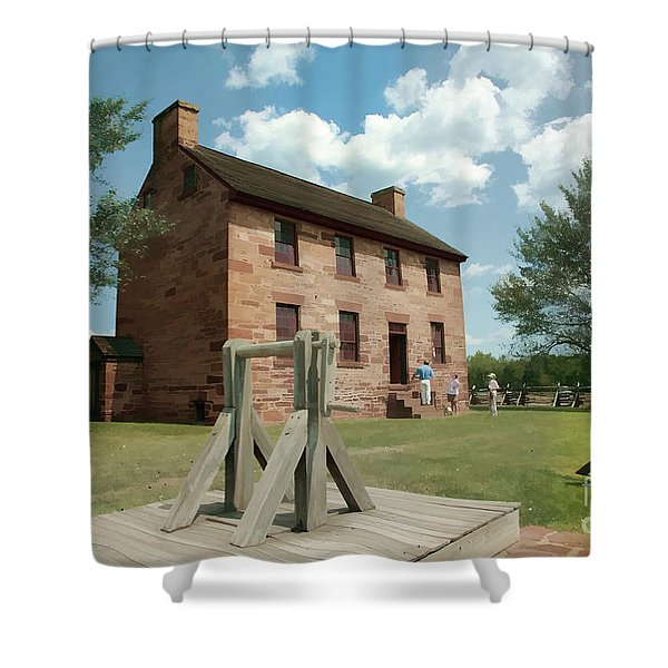 Stone House At Manassas With Digital Effects Shower Curtain