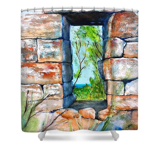 Stone Ruins Doorway Shower Curtain