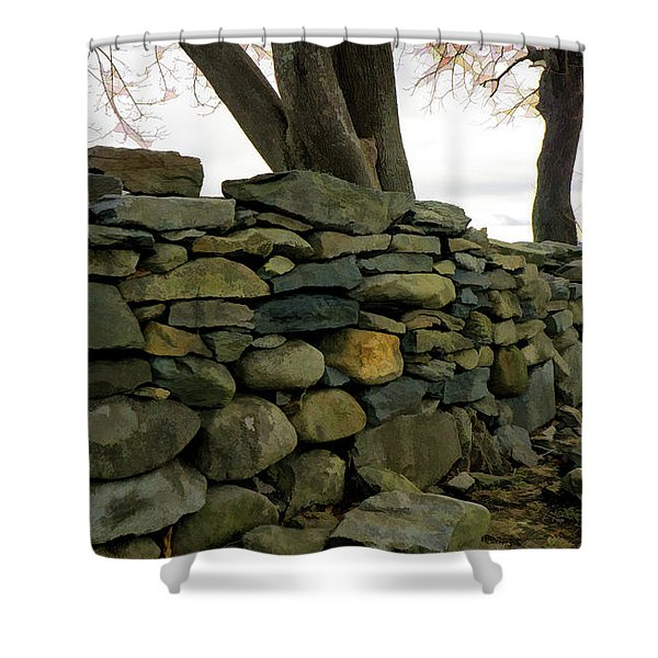 Shower Curtain featuring the photograph Stone Wall, Colt State Park by Nancy De Flon