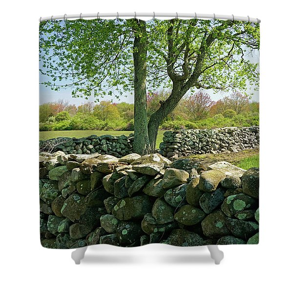 Shower Curtain featuring the photograph Stone Wall In Rhode Island by Nancy De Flon