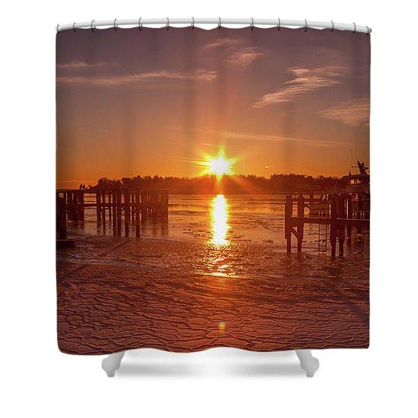 Stonington Harbor Sunset On Ice Shower Curtain