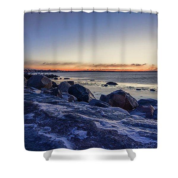 Stonington Point Blue Hour Shower Curtain