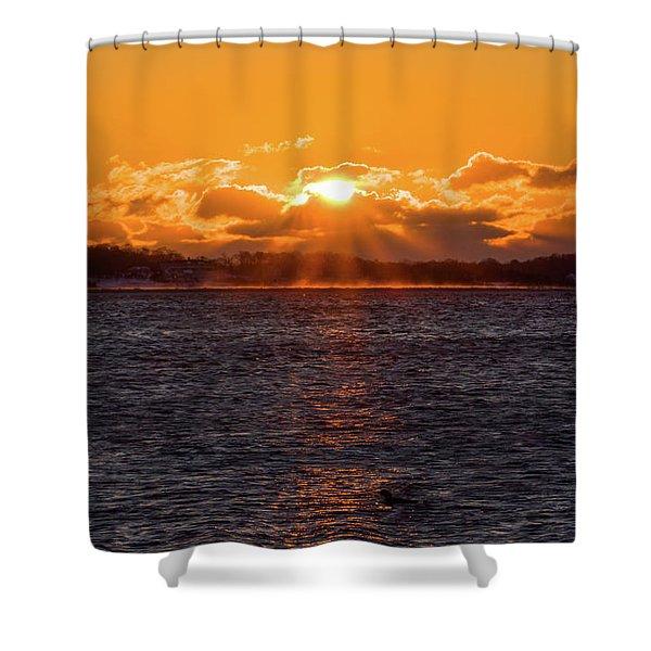 Stonington Point Sunrise Shower Curtain