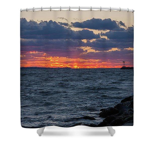 Stonington Point Sunset Shower Curtain