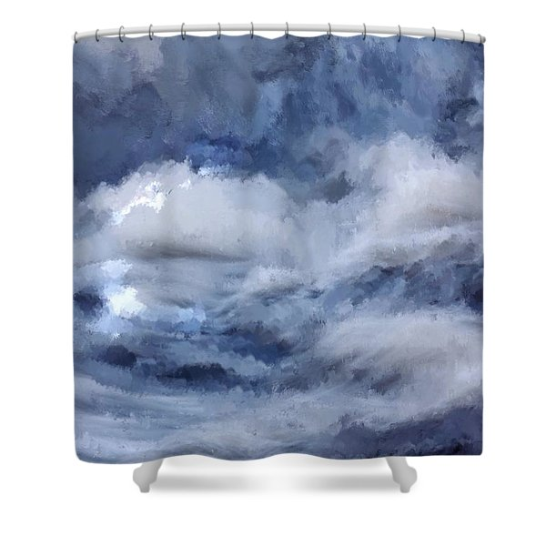 Shower Curtain featuring the painting Storm At Sea by Mark Taylor