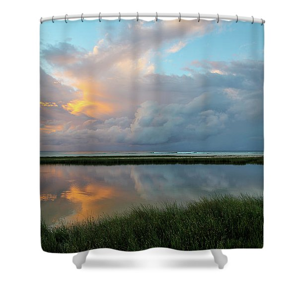 Storm Cloud Reflections At Sunset Shower Curtain