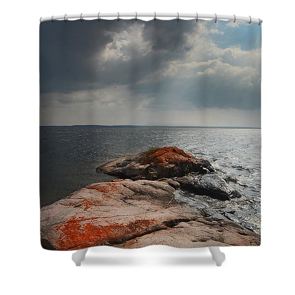 Storm Clouds Over Wall Island Shower Curtain