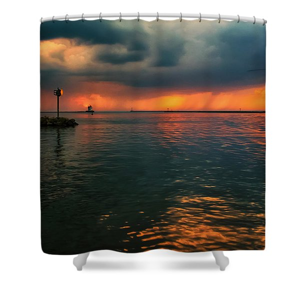 Storm In Lorain Ohio At The Lighthouse Shower Curtain