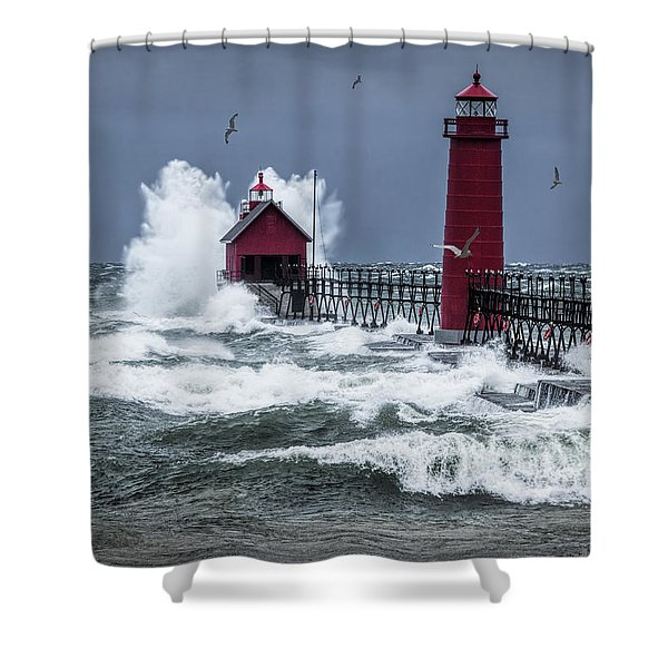 Storm On Lake Michigan By The Grand Haven Lighthouse With Flying Gulls Shower Curtain