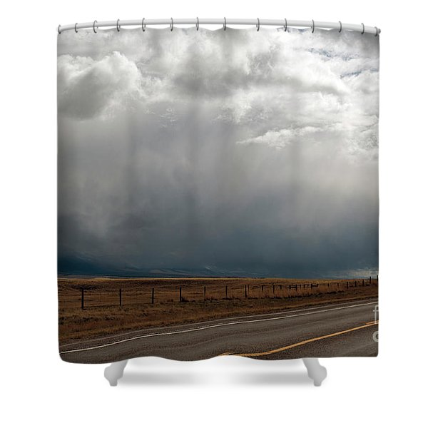 Storm On Route 287 N Of Ennis Mt Shower Curtain