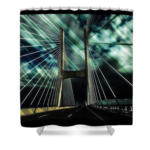 Storm Over The Bridge  Shower Curtain