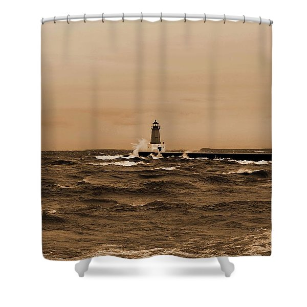 Storm Sandy Effects Menominee Lighthouse Sepia Shower Curtain