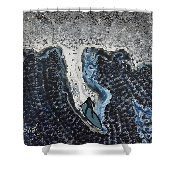 Storm Surfer Original Painting Sold Shower Curtain