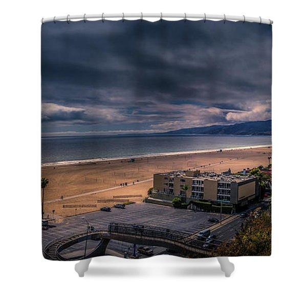 Storm Watch Over Malibu - Panarama  Shower Curtain
