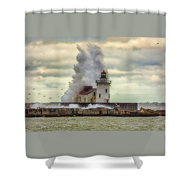 Storm Waves At The Cleveland Lighthouse Shower Curtain